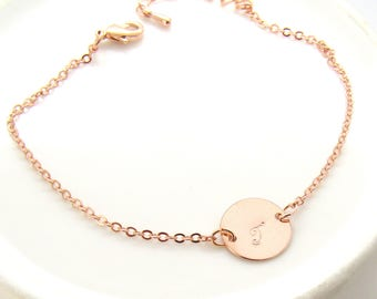 Rose gold coin disc initial bracelet- bridesmaid gift, wedding jewelry , monogram bracelet , initial bracelet , custom personalized jewelry
