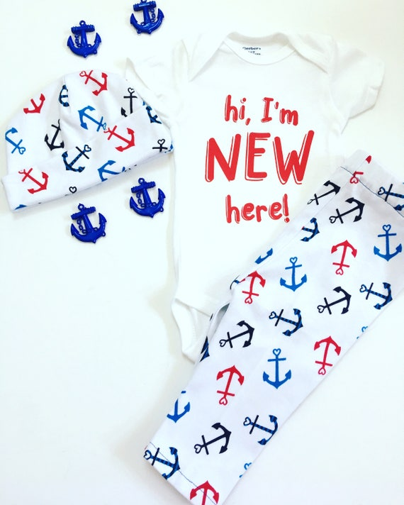 Hi I'm New Here Outfit, Coming Home Outfit, Going Home Set, Personalized Newborn Outfit, Home Coming Outfit, Newborn going Home Outfit