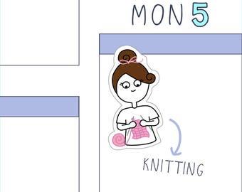 Knitting PLANNER STICKERS - 16 count sticker sheet