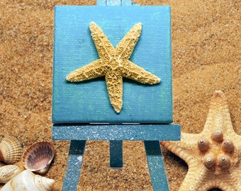 Mini Canvas with Real Starfish, Wooden Easel, Beach Decor