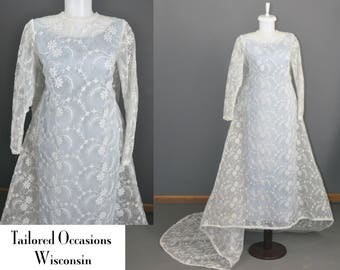 1960s 2 Piece Wedding Overdress Reception Dress   Angelaire by Monika   Petite   Frozen Elsa   Lace  Tulle    Satin Sheath Jackie Kennedy