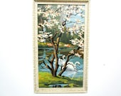 Vintage Paint by Numbers Swan Painting, with Resin Frame, Swan Painting, Cherry Blossoms, Swan on Lake Picture