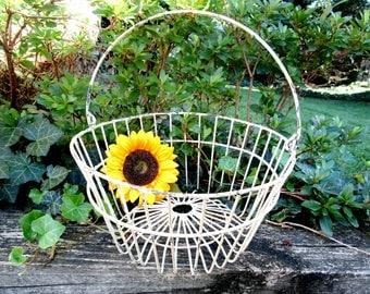 Metal Egg Basket, Large Handle, Distressed Large White Metal Basket, Farmhouse Cottage Decor
