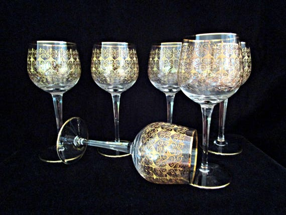 Set of 6 Wine Glasses, Bohemia Crystal, Mid Century Czech, Modern Gold Detailing