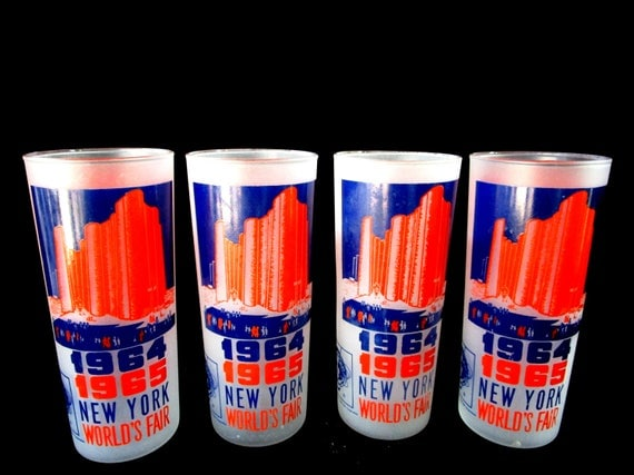 Set of 4 New York Worlds Fair Barware, 1964, 1965. Hall of Science, Orange and Blue