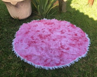 Pink Round Brazilian Beach Blanket Beach Accessory Tapestry Yoga Mat Beach Cover up Thin Picnik Blanket