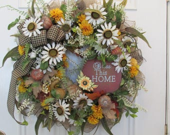 Fall Wreath With Bless This Home Sign, Thanksgiving Wreath, Home Decor Wreath With White Sunflowers, Grapevine Wreath With Deco Mesh Ruffles