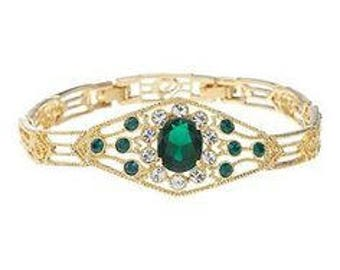 Jackie Kennedy Bracelet - Simulated Emeralds, Box and COA - Sz 7 or 8
