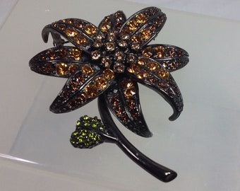 Joan Rivers Lily Brooch - Gunmetal with Stones - S2435