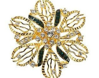 Jackie Kennedy GP Brooch - Simulated Emeralds and Crystals with Box and Certificate