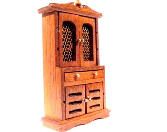 Doll House Hutch Cupboard Double Doors and Drawer Wooden Doll House Furniture