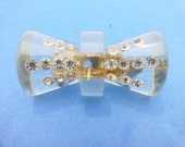Clear Lucite Bow Brooch With Embedded Clear Rhinestones