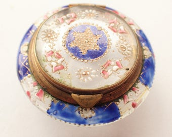 Antique Hand Painted Glass French Patch Box or Powder Pot