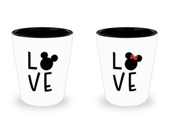 Disney Love Mug Gift for Women Mickey Minnie Mouse Fan Shot Glass (SET OF 2) Gift Disneyland Couple