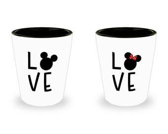Disney Love Mug Gift for Women Mickey Minnie Mouse Fan Shot Glass (SET OF 2) Gift Disneyland Couple