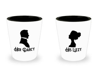 Her Darcy and His Lizzy Shot Glass SET OF TWO Gift Couples Pride and Prejudice Jane Austen Darcy