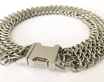 Small stainless steel chainmail dog collar