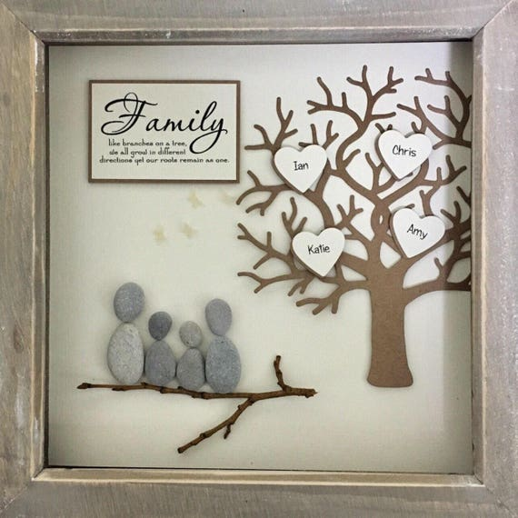 Friends Family Tree: Pebble Art, Family Tree, Mothers Day Gift, Gift For