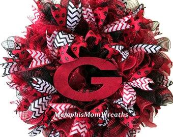 University of Georgia Deco Mesh Wreath - Deco Mesh Wreath - College Football Wreath - University of Georgia Wreath - UGA Wreath