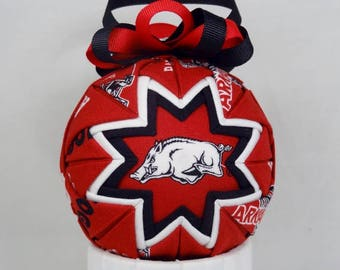 Arkansas Razorback Quilted Ornament