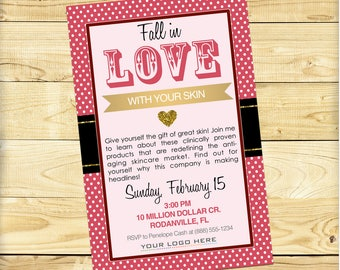 Fall in Love with Your Skin Invite, Rodan + Fields Glitter and Polka Dot Design - DIGITAL FILE