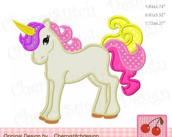 Unicorn Animal Machine Embroidery Applique Design - for 4x4,5x7 and 6x10 hoop  AN0073