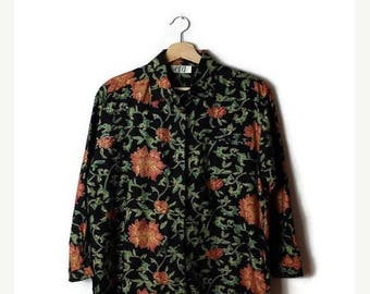 ON SALE Vintage Black x  Floral  Rayon Long sleeve Blouse  from 1980's*