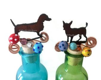 DACHSHUND Weiner Dog or CHIHUAHUA  Rusty Rustic Rusted Metal Decorative Wine Bottle Cork Stopper Topper