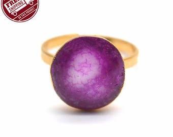 45% OFF Solar Rustic Druzy Ring, 22k Gold Electroplated Gemstone Druzy Adjustable Ring 1pc (DZRG-12057)