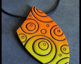 Ombre yellow orange black pendant Black circles pattern