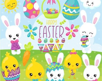 80% OFF SALE Easter clipart commercial use, easter bunny vector graphics, easter digital clip art, digital images  - CL1075