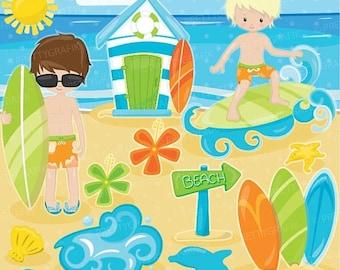 80% OFF SALE Surfer boys clipart, clipart commercial use, beach vector graphics, surf digital clip art, digital images - CL903