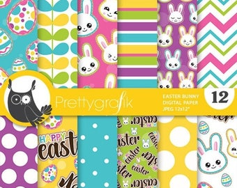 80% OFF SALE Easter digital paper, commercial use, easter scrapbook papers, easter background, easter bunny - PS850
