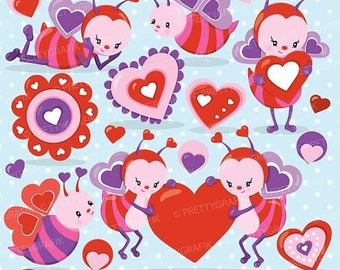 80% OFF SALE Valentine bees clipart commercial use, valentine vector graphics, bee digital clip art, digital images - CL796