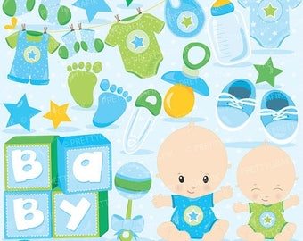 80% OFF SALE Baby boyclipart commercial use, baby shower vector graphics, blue digital clip art, digital images - CL829