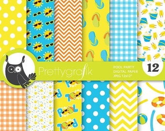 80% OFF SALE Pool party digital paper, commercial use, scrapbook papers, background - PS718