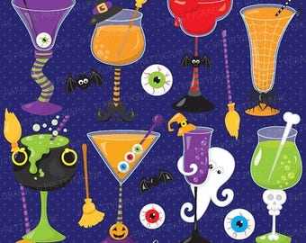 80% OFF SALE Halloween cocktails costume clipart commercial use, vector graphics, digital clip art, digital images - CL717