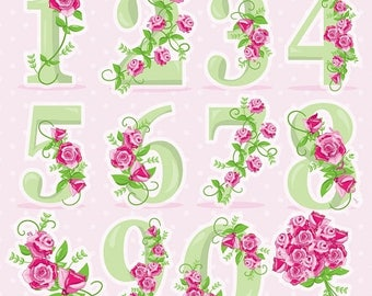 80% OFF SALE Floral numbers clipart, wedding clipart commercial use, Floral vector graphics, flowers clip art, digital images - CL958