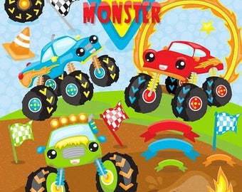 80% OFF SALE Monster truck clipart commercial use,  rally vector graphics, party digital clip art, digital images - CL1103