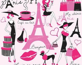 80% OFF SALE paris fashion clipart for scrapbooking, commercial use, vector graphics, digital clip art, images - CL556