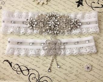 SUMMER SALE Wedding Garter Set, Bridal Garter, Pearl and Rhinestone Garter and Toss Garter Set, White Lace Garter Set, Lace Garters