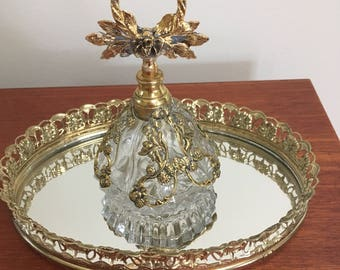 Lovely Ormolu Perfume Bottle with Mirror Tray