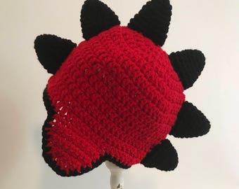 Dinosaur beanie hat.  Crochet Beanie Stegosaurus.  Spiked knit skull cap.  Any size, any color available.