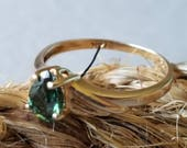 Reserved for Punaswim 14K Yellow Gold Ring with Earthy Green Stone (st - 2078)