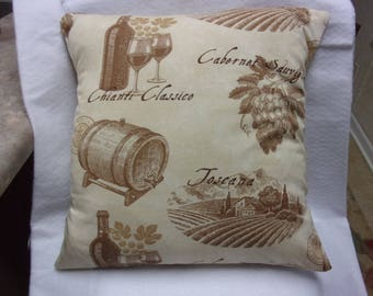 Pillow Cover, Decorative Pillow Cover,Wine Pillow Cover, Throw Pillow Cover, Toss Pillow Cover, Wine Barrel Accent Pillow , Cushion Cover