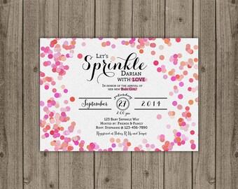 Baby Girl Sprinkle Shower Invitation - Glitter Confetti Baby Shower Invitation - Baby Shower Sprinkle Invitation - 5x7 JPG DIGITAL FILE