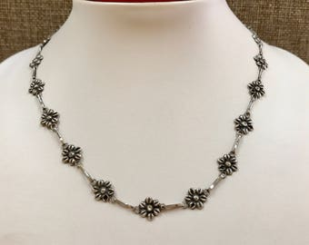 Vintage Mexico 925 Sterling Silver Flower Necklace!!!!