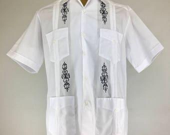 GUAYABERA TRAIDICIONAL - WHITE - black embroidery