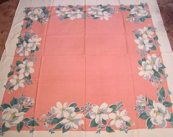 Vintage Tablecloth White Magnolias on PINK