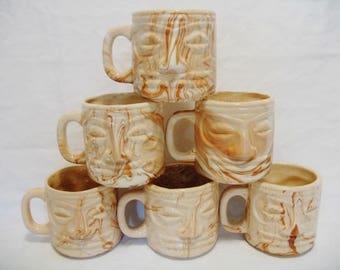 Vintage Mid Century Set of 6 Marbled Ceramic Tiki Bar Polynesian South Pacific Drinkware Mugs Kitsch